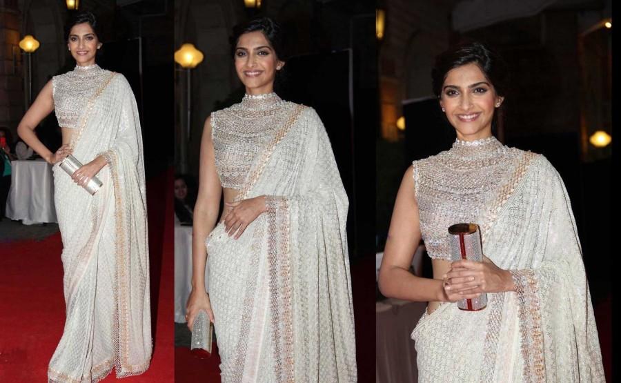 style white Saree