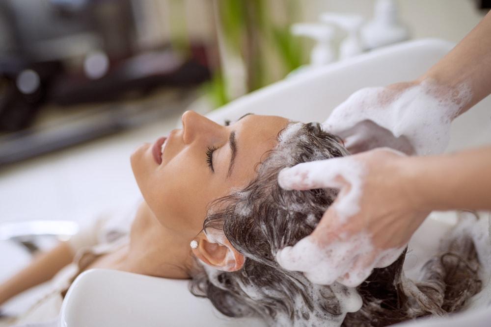 Shampoo twice hair