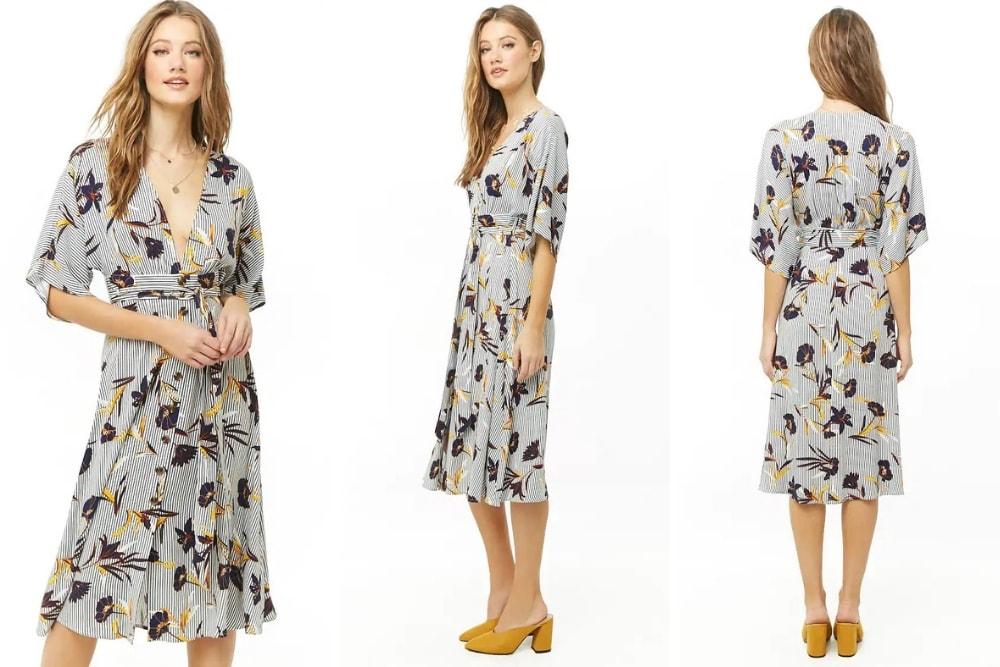 Striped-Floral-Midi-Dress