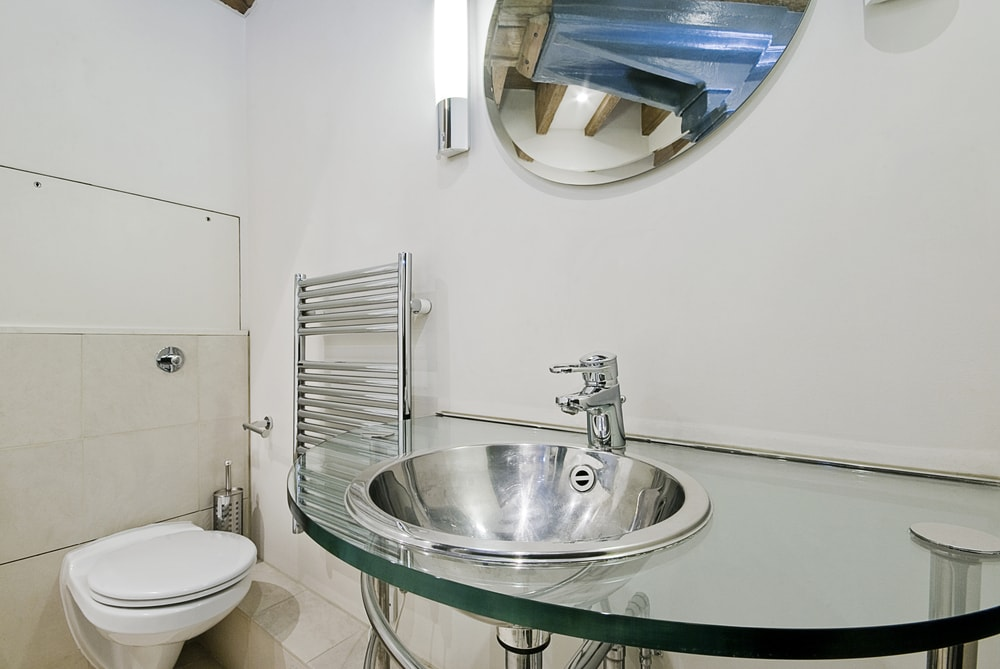 stainless steel bathroom