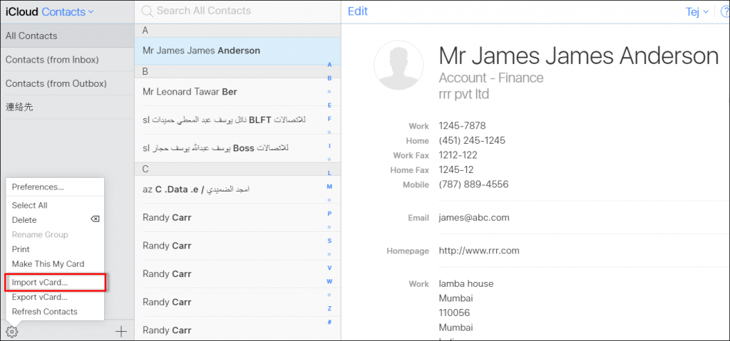 Excel contacts to iPhone