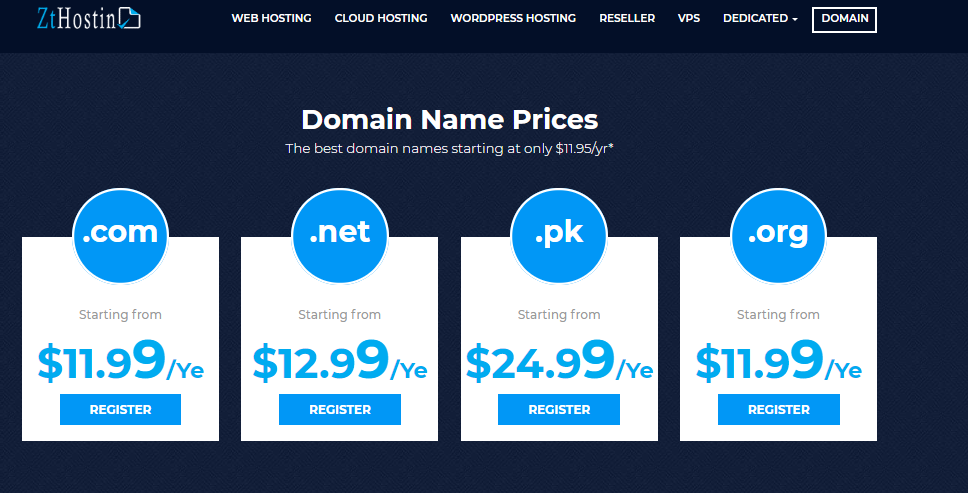 web hosting domains